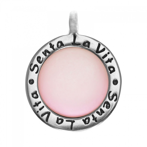 Senta La Vita  Round Light Pink Matt Stone Pendant
