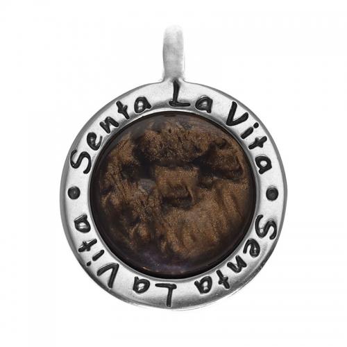 Senta La Vita  Round Mocca Shiny Stone Pendant