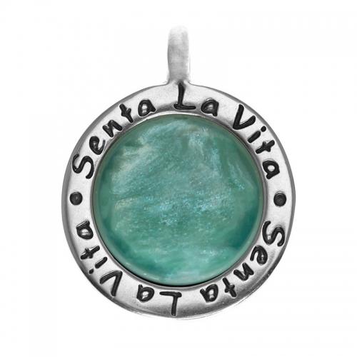 Senta La Vita  Round Jade Shiny Stone Pendant
