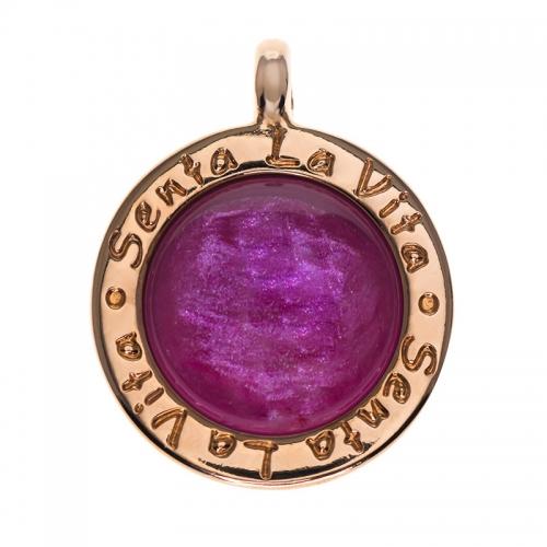 Senta La Vita  Round Fuchsia Shiny Stone Pendant