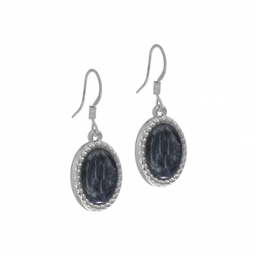 Senta La Vita Silver and Dark Grey Stone Earrings