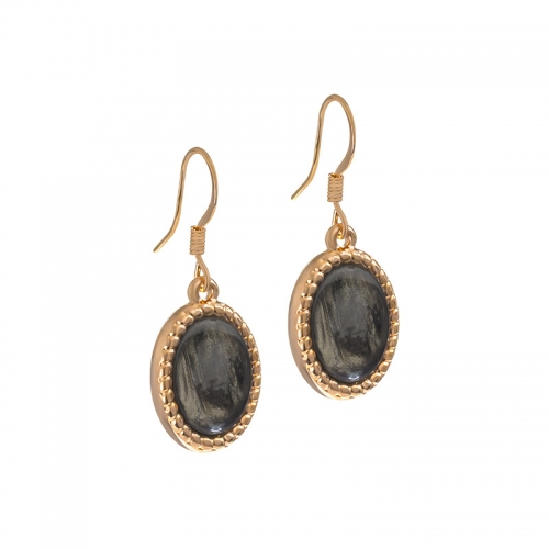 Senta La Vita  Rose and Dark Taupe Stone Earrings