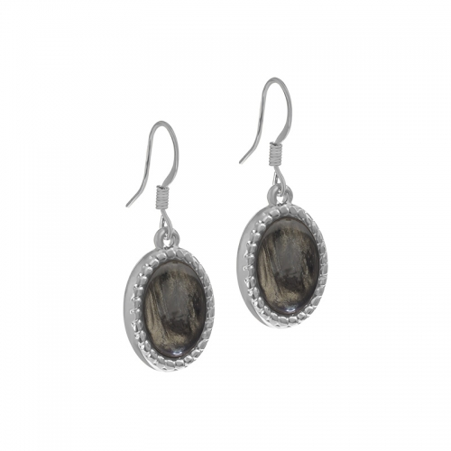 Senta La Vita  Silver and Dark Taupe Stone Earrings