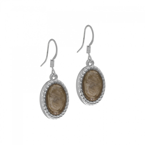 Senta La Vita Silver and Light Taupe Stone Earrings