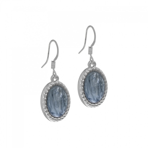Senta La Vita Silver and Greyed Blue Stone Earrings