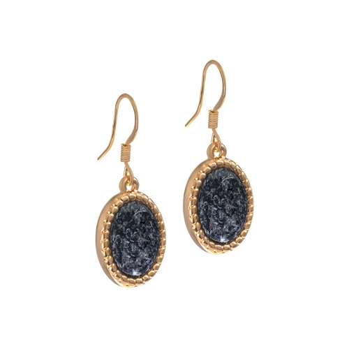 Senta La Vita  Rose and Black Felt Stone Earrings