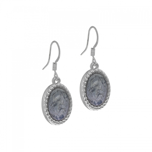 Senta La Vita Silver and Jet Grey Stone Earrings