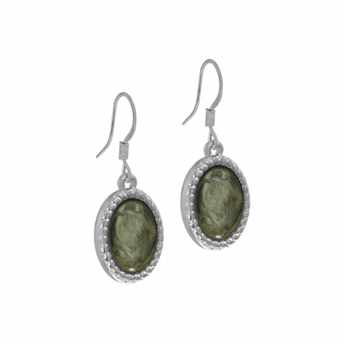 Senta La Vita Silver and Agave Green Stone Earrings