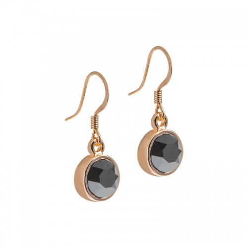 Senta La Vita Senta La Vita Jet Hematite Swarovski Rose Earrings