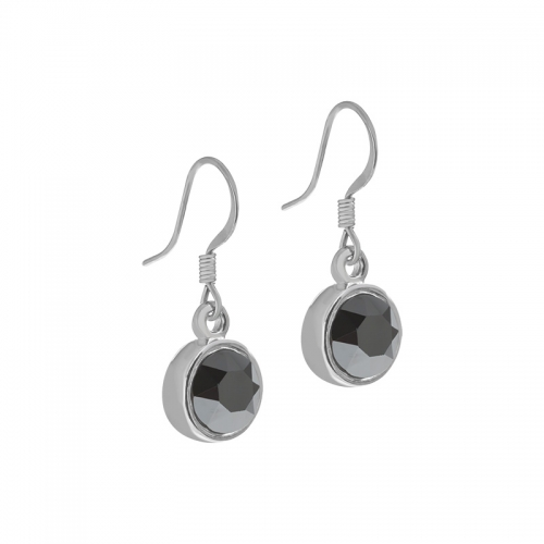 Senta La Vita  Jet Hematite Swarovski Earrings