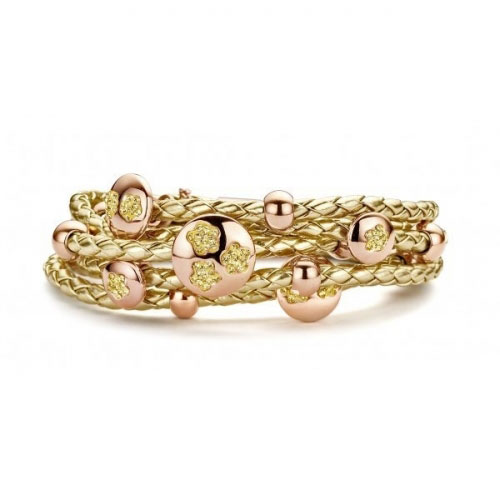 Claudine Gold Stones Leather Bracelet