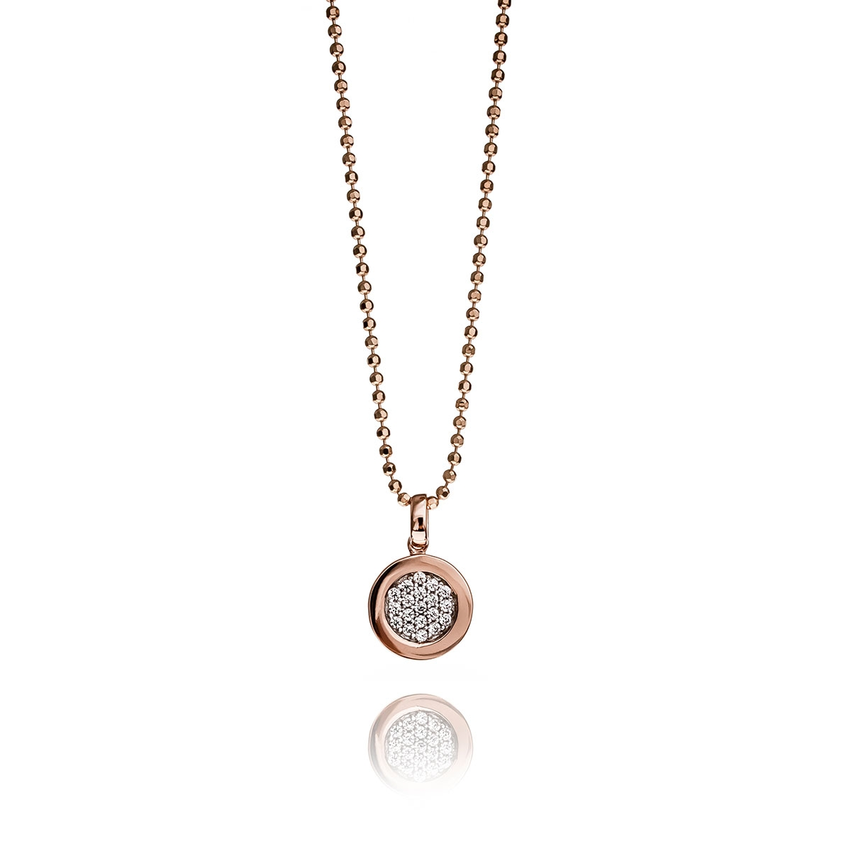 ZINZI ROSE GOLD AND SILVER CIRCLE PENDANT NECKLACE SET Jewel First