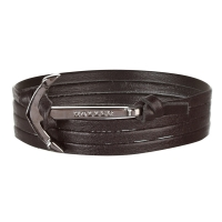 Holler Mosley  Black Polished Anchor / Black Leather Bracelet