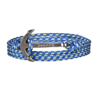 Holler Mosley  Black Polished Anchor / Blue, Yellow and White Paracord Bracelet