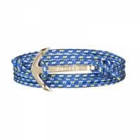 Holler Mosley  Gold Polished Anchor / Blue, Yellow and White Paracord Bracelet