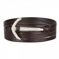 Holler Mosley  Silver Sandblasted Anchor / Black Leather Bracelet