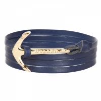 Holler Mosley  Gold Polished Anchor / Blue Leather Bracelet