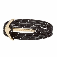 Holler Mosley  Gold Polished Anchor / Black and White Paracord Bracelet
