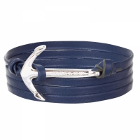Holler Mosley  Silver Polished Anchor / Blue Leather Bracelet