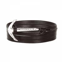 Holler Mosley  Silver Polished Anchor / Black Leather Bracelet