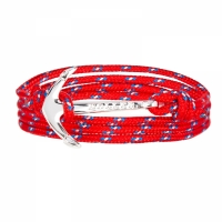 Holler Mosley  Silver Polished Anchor / Red, Blue and White Paracord Bracelet