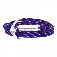 Holler Mosley  Silver Polished Anchor / Blue, Red and White Paracord Bracelet