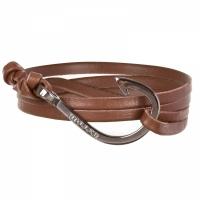 Holler Kirby  Black Polished Hook / Brown Leather Bracelet