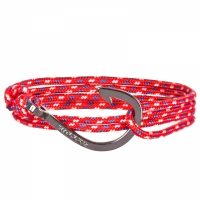 Holler Kirby  Black Polished Hook / Red, Blue and White Paracord Bracelet