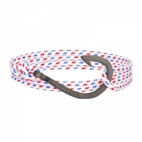 Holler Kirby  Black Sandblasted Hook / White, Blue and Red Paracord Bracelet