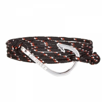 Holler Kirby  Silver Polished Hook / Black, Red and White Paracord Bracelet