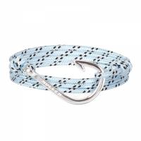 Holler Kirby  Silver Polished Hook / Light Blue, Black and White Paracord Bracelet