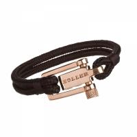 Holler Mancha  Rose Gold Polished U-Buckle / Black Paracord Bracelet