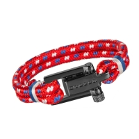 Holler Mancha  Black Polished U-Buckle / Red Paracord Bracelet