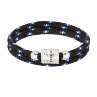 Holler Bailey Silver Polished Barrel / Black and White Paracord Bracelet
