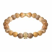 Holler Jefferson Gold Polished Skull / 10mm Beige Jasper Natural Stone Bracelet