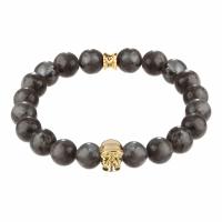 Holler Jefferson Gold Polished Skull / 10mm Grey Natural Black Larvikite Natural Stone Bracelet