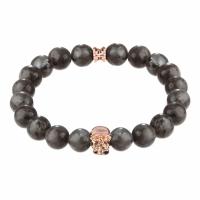 Holler Jefferson Rose Gold Polished Skull / 10mm Grey Natural Black Larvikite Natural Stone Bracelet