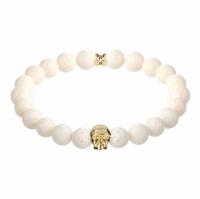 Holler Jefferson Gold Polished Skull / 10mm White Coral Natural Stone Bracelet