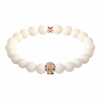 Holler Jefferson Rose Gold Polished Skull / 10mm White Coral Natural Stone Bracelet