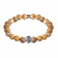 Holler Jefferson 10mm Beige Jasper Stone Bracelet