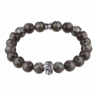 Holler Jefferson 10mm Grey Natural Black Larvikite Stone Bracelet