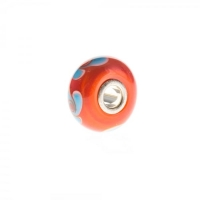 Trollbeads Orange and Blue Unique Silver & Glass Bead