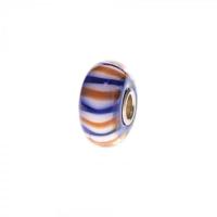 Trollbeads Blue, White and Orange Unique Silver & Glass Bead