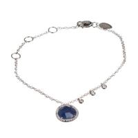 Meira T Blue Sapphire And Diamond Bezel White Gold Bracelet 1B4541