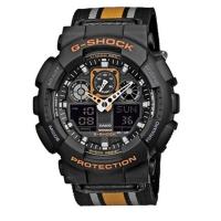 Casio G-Shock Stripe Canvas Men's Black Alarm Chronograph Watch GA-100MC-1A4ER