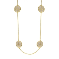 Lauren G Adams Gold and White Peace Sign Necklace