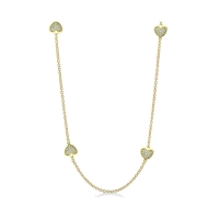 Lauren G Adams Gold Necklace with Pave Heart Charms