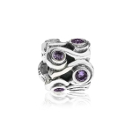 Pandora Ocean Wave Silver & Purple CZ Charm 790369ACZ