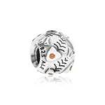 Pandora Fishbone Silver & Orange CZ Charm 790426OCZ