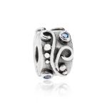 Pandora Swirl Silver & Blue CZ Clip 790380CZB
